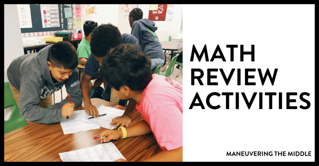 Math review games can breath life into your classroom and teaching. Most students enjoy getting out of their seats and going their work in another part of the class, whether that be with a group or individually. |maneuveringthemiddle.com
