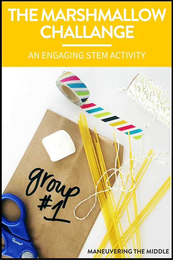 All classes should try the Marshmallow Challenge! It is a great problem solving activity that incorporates STEM skills & teaches communication & cooperation. | maneuveringthemiddle.com