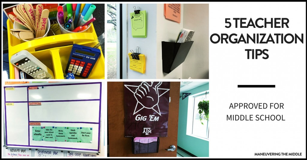 Five great ideas for teacher organization - easy to set up with materials you likely have. Perfect for the middle school classroom.