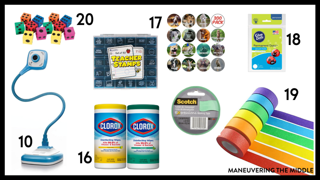 20 Teacher Supplies Under $20 - Must have school supplies to stock your classroom.   maneuveringthemiddle.com