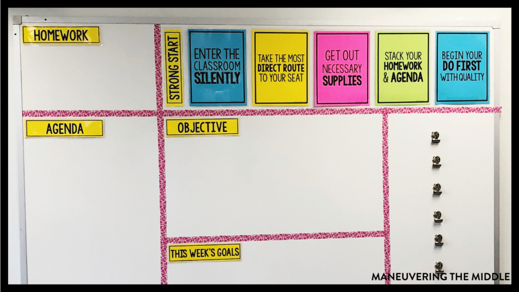20 middle school routines and procedures to keep your students on the right track and out of trouble. Set your classroom up for success! | maneuveringthemiddle.com