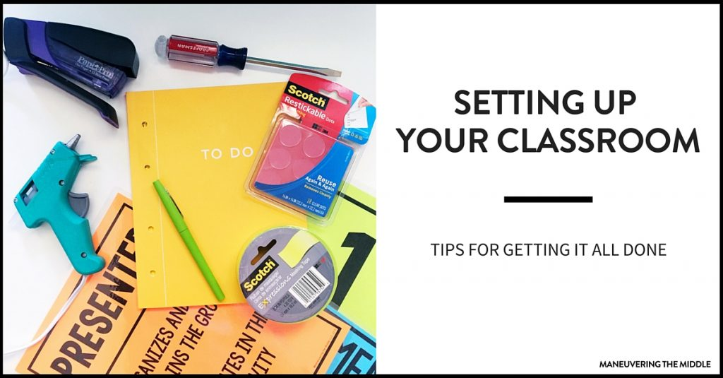 Getting your classroom set-up doesn't have to be stressful! Ideas for getting it all done efficiently and effectively, from classroom decor to organization. | maneuveringthemiddle.com