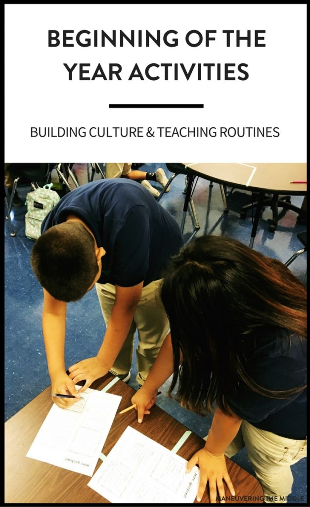 The first week of school is a great time to build classroom culture, community, and teach class routines. Ideas for engaging first week of school activities to make it easy and fun! | manevueringthemiddle.com