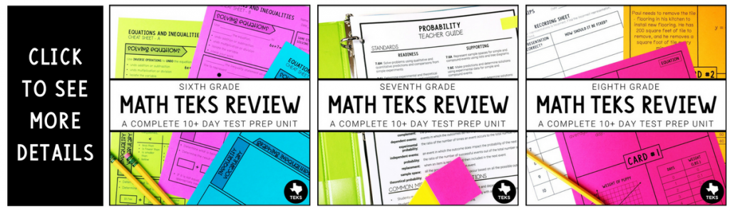 Math TEKS Review for Middle School