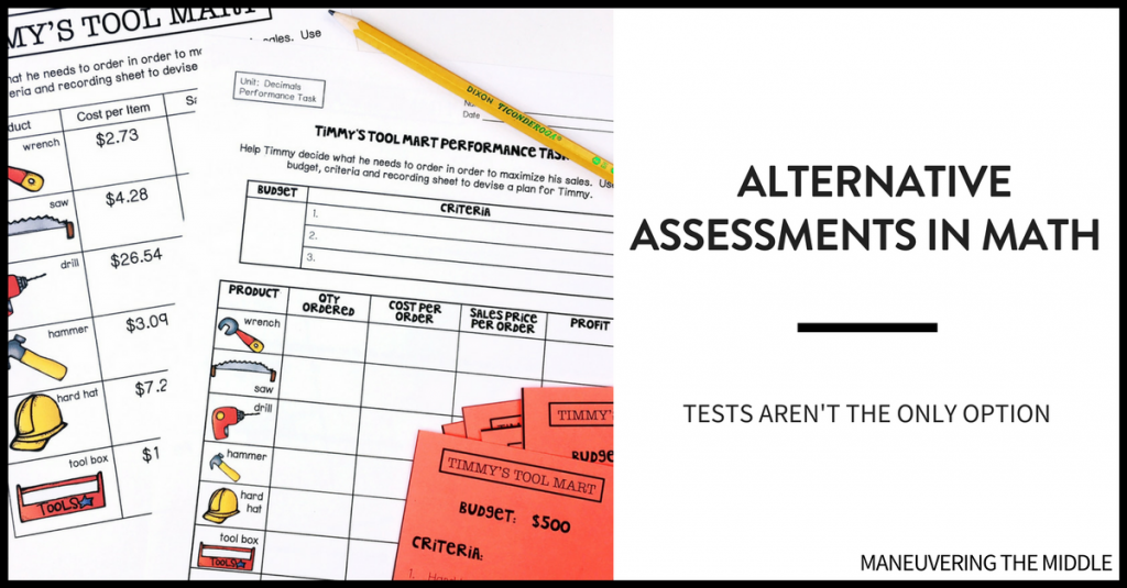 Students learn in a variety of ways and teachers should assess their learning in a variety of ways. Check out 4 alternative assessments in math to spice up the way you gauge student understanding. | maneuveringthemiddle.com