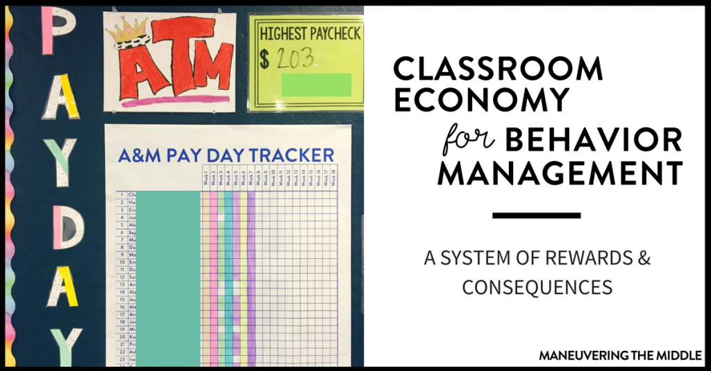 A classroom economy helps manage students by setting up rewards & consequences and provides teachers opportunities to positively narrate students. | maneuveringthemiddle.com