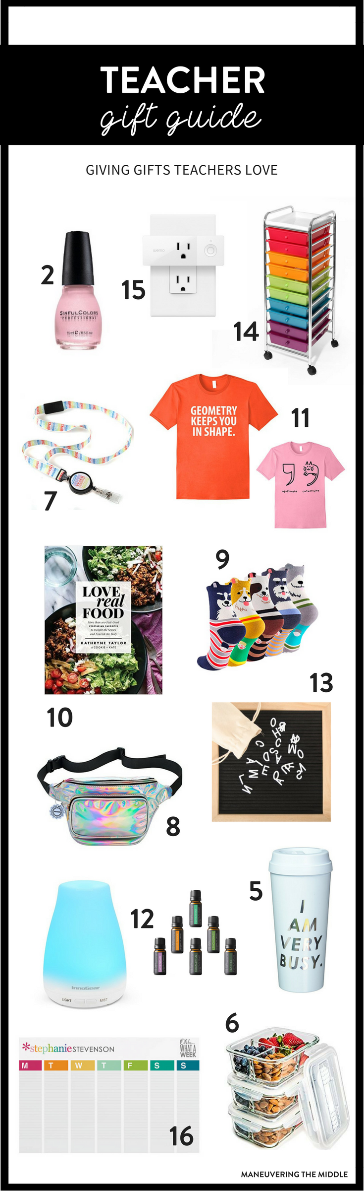 Gifts for teachers or coworkers does not have to be hard this year! Shopping for teachers is made simple with our teacher gift guide. | maneuveringthemiddle.com