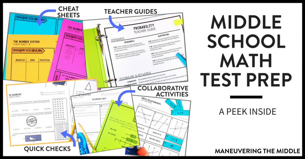 Ideas and resources for implementing middle school math test prep in your classroom! Keep test prep engaging and hands-on with less prep for teachers.   maneuveringthemiddle.com