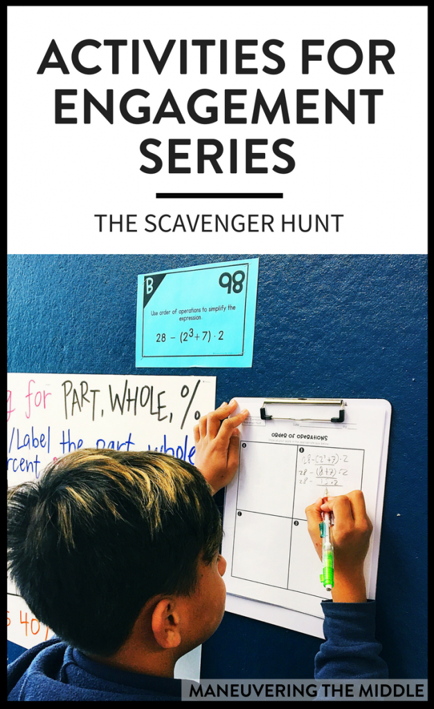 It should come to no one's surprise that students like activities. The post will explain why the scavenger hunt activity is a favorite amongst students and teachers, and how you can use it in your math classroom. | maneuveringthemiddle.com