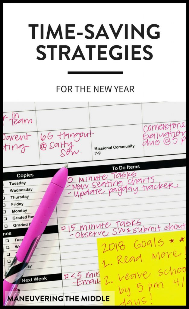 Since the new year has just begun, I thought I would share some of my go-to time-saving tips, so you can start your new year in your classroom as efficiently as possible. | maneuveringthemiddle.com