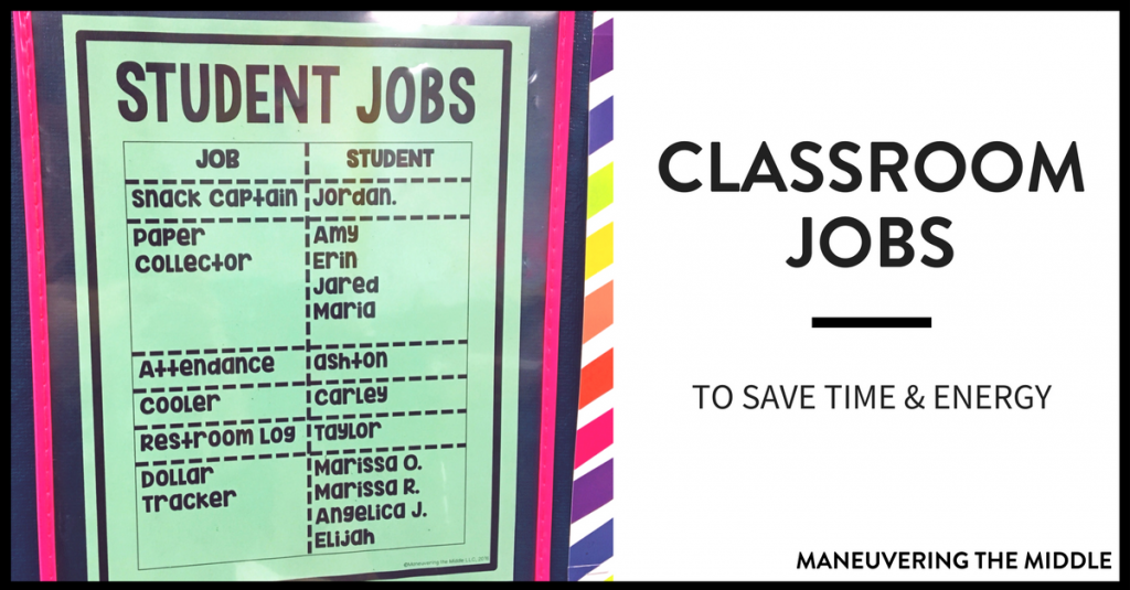 As a teacher, I firmly believe that students can learn anything. This applies to academics, character, and...helping you around your classroom! Classroom jobs are a great way to build student investment and save you time and energy! | maneuveringthemiddle.com