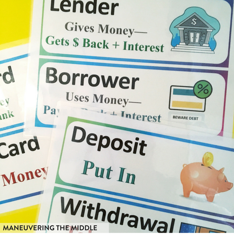 Teaching ideas and activities to support the personal financial literacy standards in middle school!