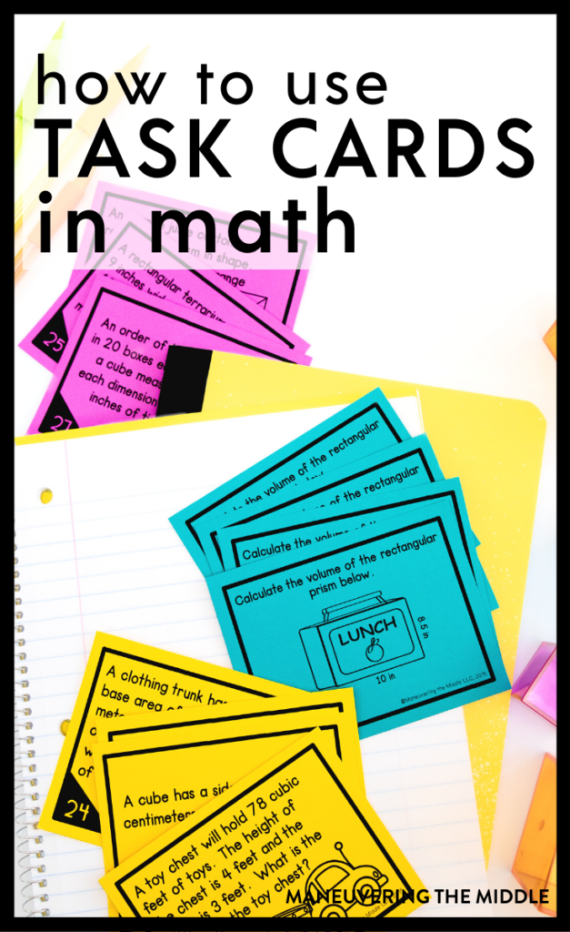 Task cards are awesome! Here are 10 ways to incorporate task cards as meaningful work for your students in your classroom. | maneuveringthemiddle.com