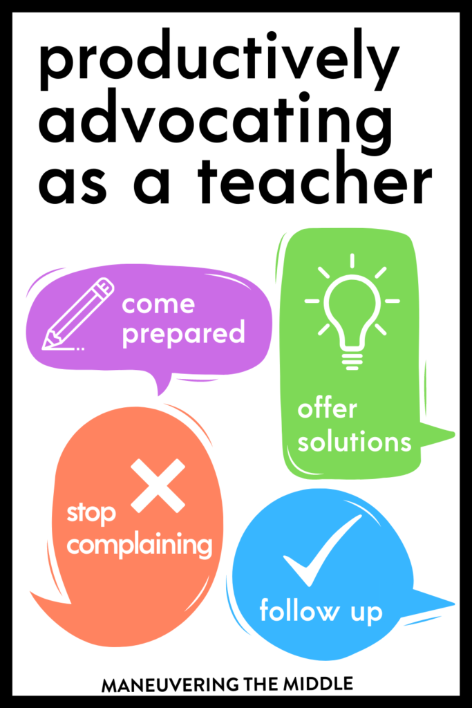 It's not an easy task to advocate for yourself as a teacher. I wrote about my experience advocating for myself along with some helpful tips.  maneuveringthemiddle.com
