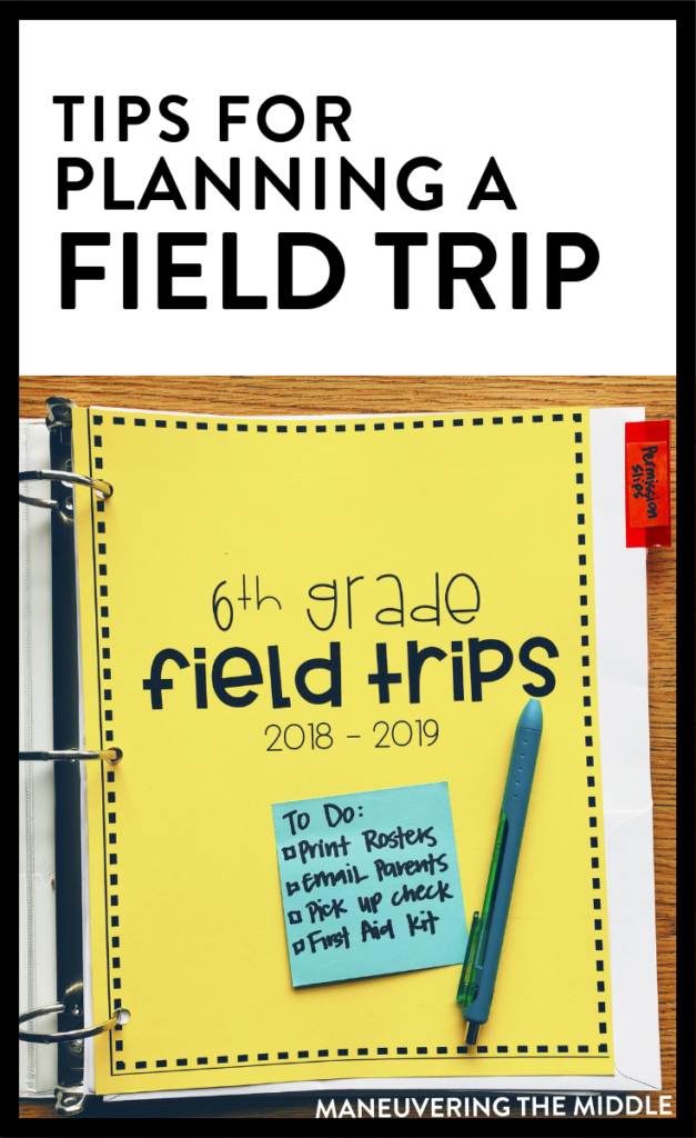 Planning for a field trip can be overwelming, but it doesn't have to be! Read on for tips to help plan, delegate, and execute a field trip for your class. | maneuveringthemiddle.com