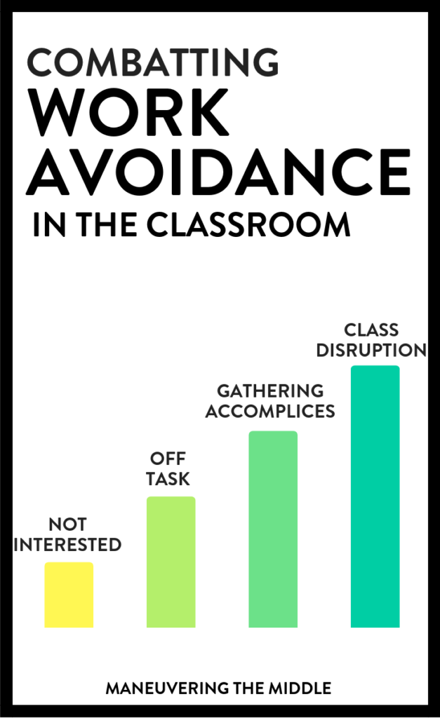 Even the most experienced teachers will have students find excuses to avoid work. Here are some tips on how to help your students combat work avoidance. | maneuveringthemiddle.com