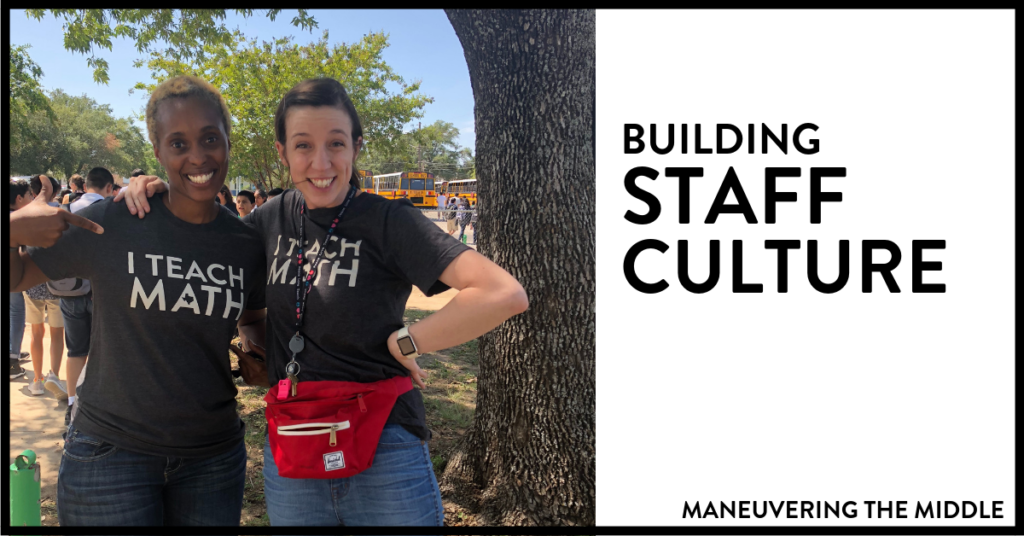 If you are interested in implementing some small things that go along way to increase positive staff culture at your school, then this post is for you! Teaching is fun, but it can be way more fun to come to work if your staff culture is strong. | maneuveringthemiddle.com