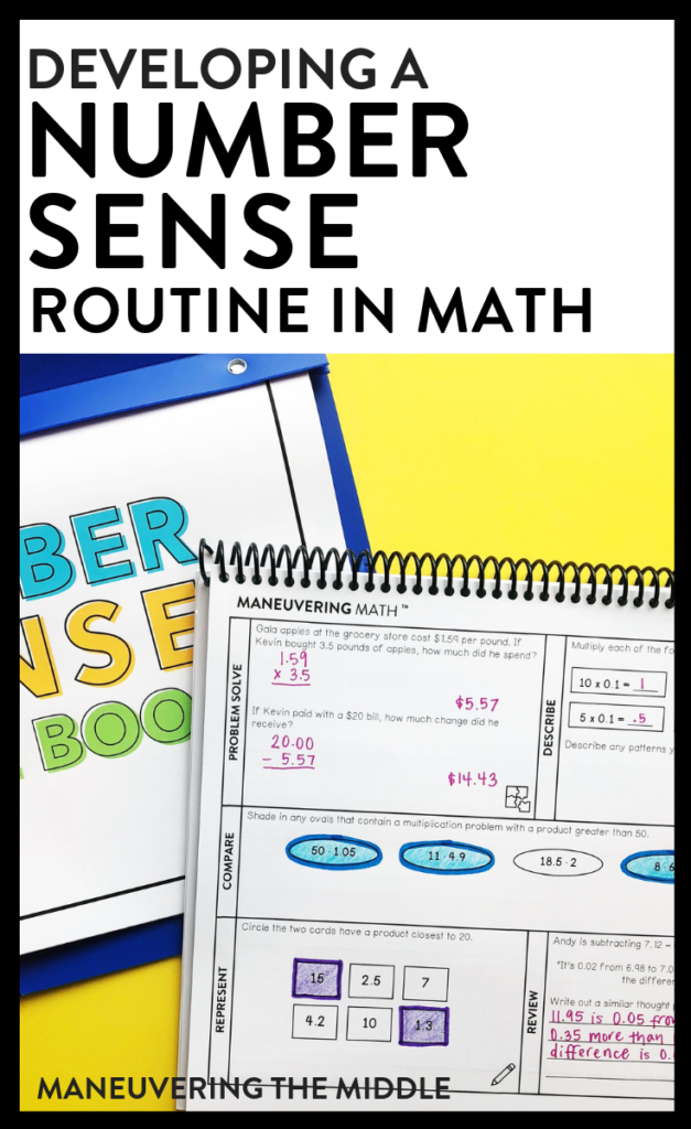 Ideas and tips for developing a number sense routine and implementing number talks in the math classroom. | maneuveringthemiddle.com