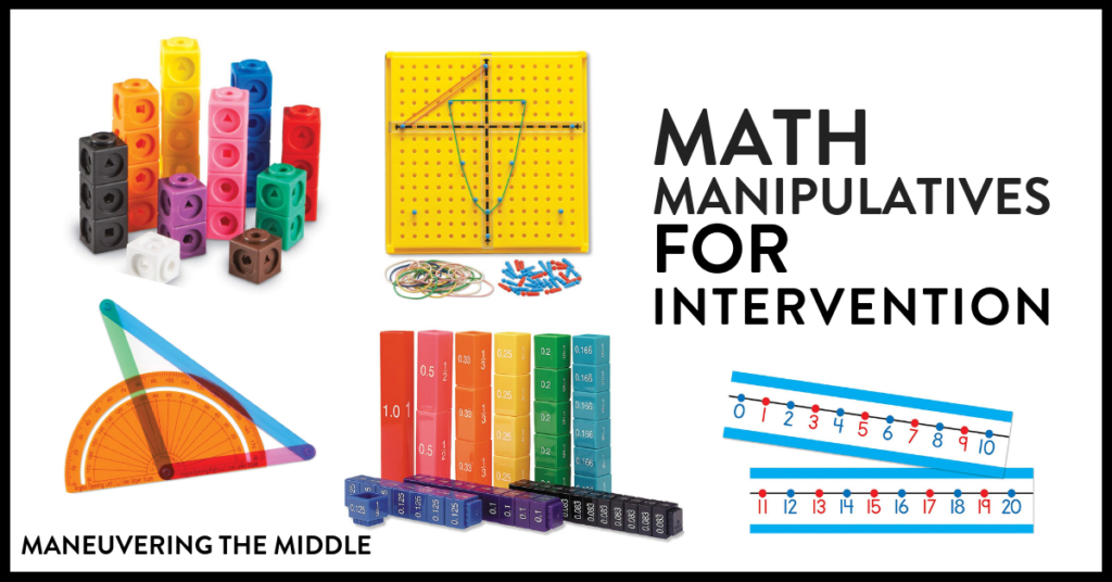 Our list of essential math manipulatives to teach concrete understanding with a hands-on approach! Plus, ideas for how to incorporate them into your classroom.