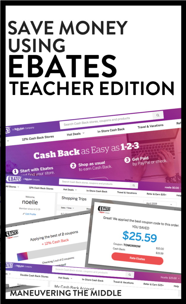 Ebates is an easy way to stretch your teacher budget and save money (thru cash back) on items you were already planning to purchase. | maneuveringthemiddle.com