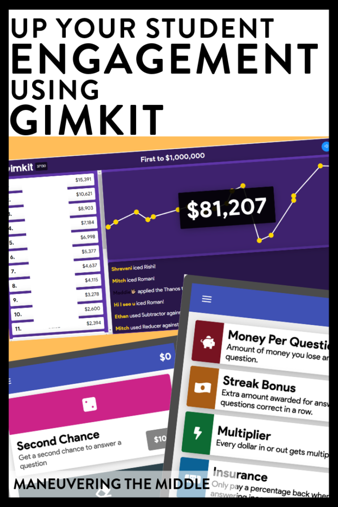 Gimkit is a fun, engaging way to spice up your review and keep students engaged to the very end! Ideas for how to incorporate Gimkit in your classroom! |maneuveringthemiddle.com