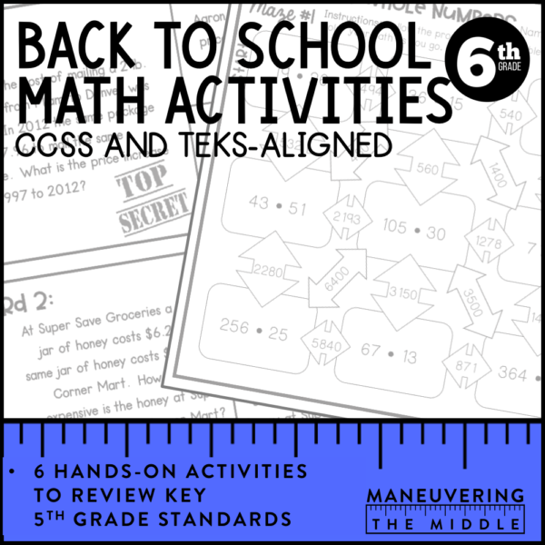Back to School Review CSS 6th