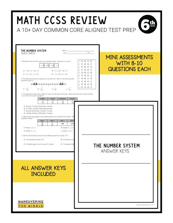 CCSS 6th Test Prep 4