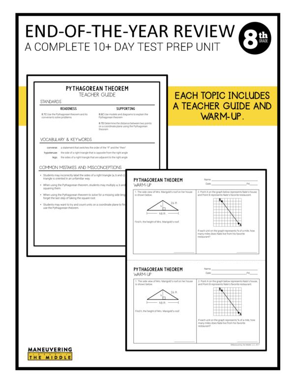8th grade ccss test prep review 2