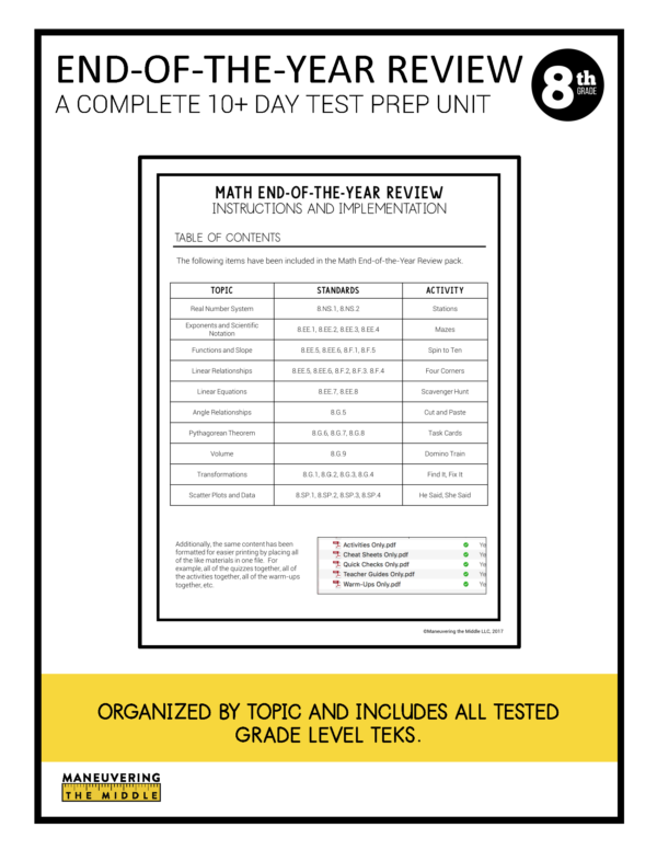 8th grade ccss test prep review 1