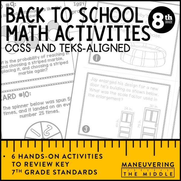 8th Grade Back to school math activities