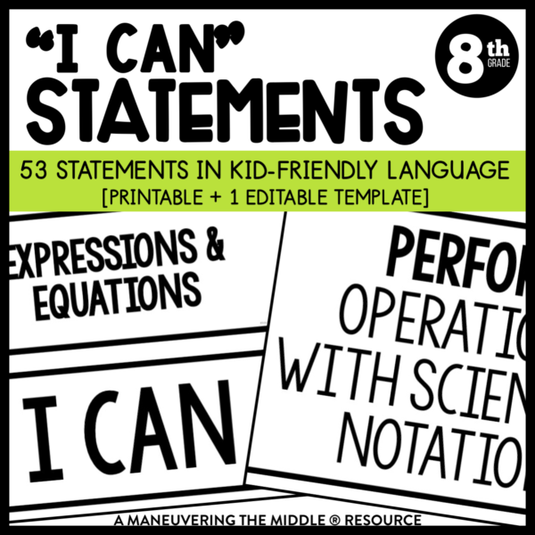 8th Grade CCSS I can statements