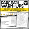 7th grade ccss daily math warm-ups
