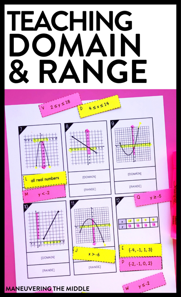 Domain and range is a skill that can be challenging for students & thus challenging for teachers. Here are 4 tips to help your class with domain and range. | maneuveringthemiddle.com
