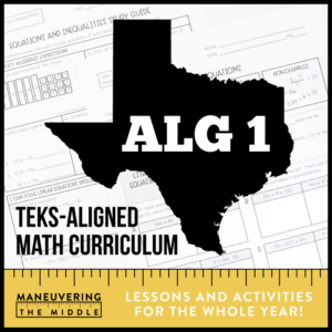 Algebra 1 TEKS Math Curriculum
