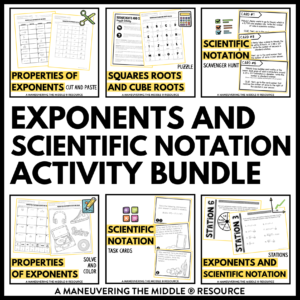 ccss 8th exponents and scientific notation activities