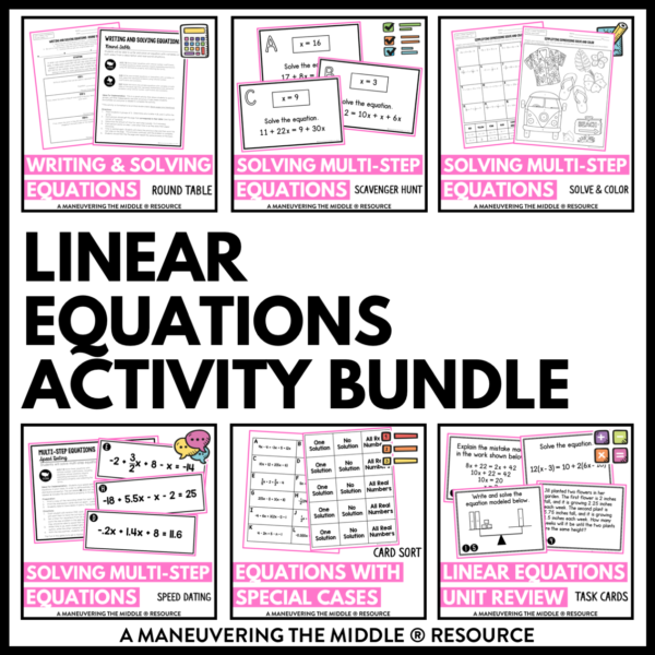 ccss 8th linear equations activities