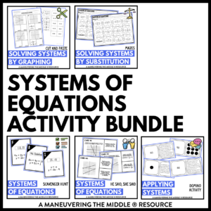 ccss 8th systems of equations activities