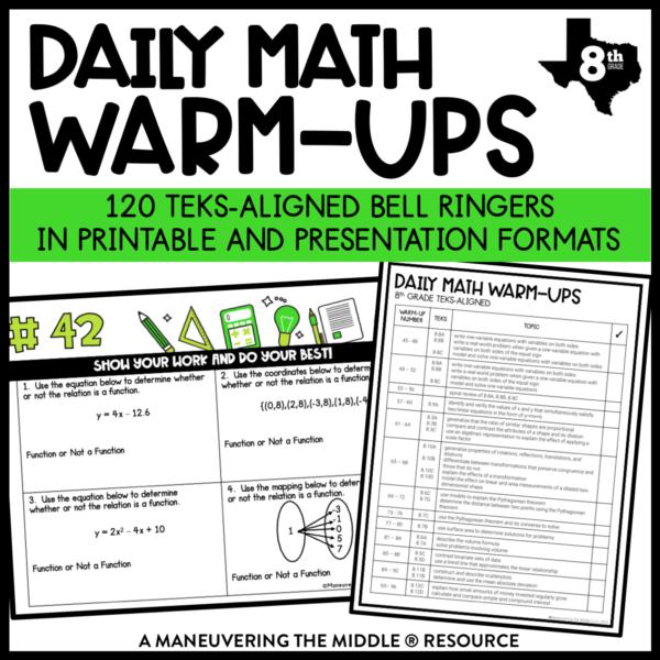 Daily Math Warm-ups 8th TEKS