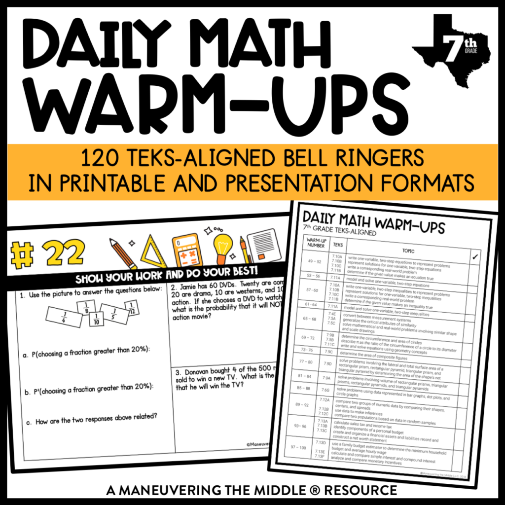 Daily Math Warm-Ups 7th Grade TEKS