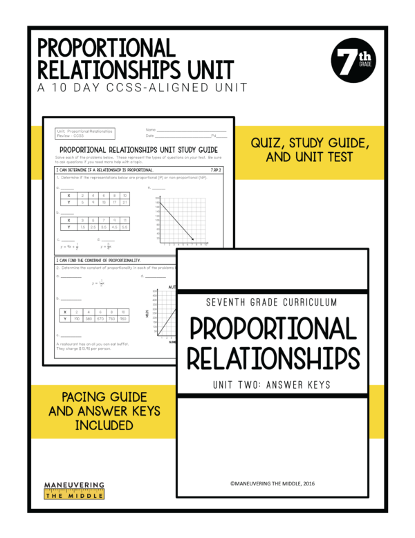 Proportional Relationships Lessons 4