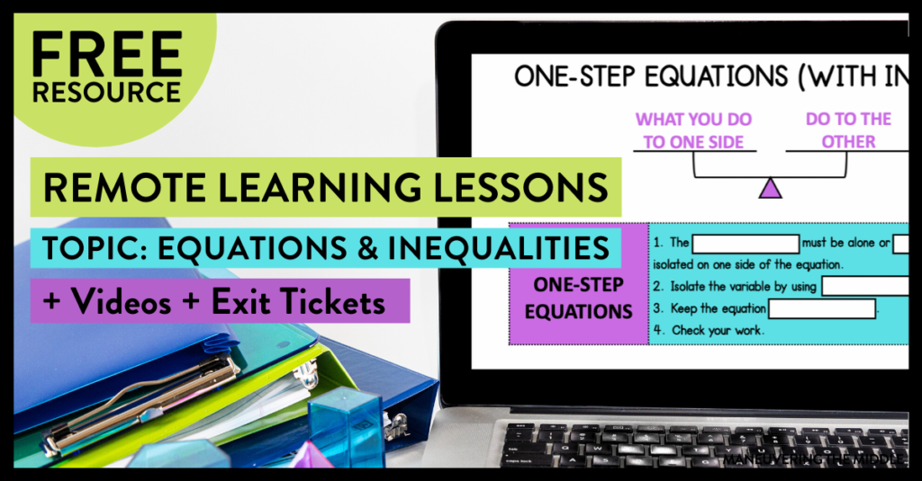 If you need a way for your students to learn math at home, check out this post to learn more about how to implement remote learning and get a free resource.   maneuveringthemiddle.com