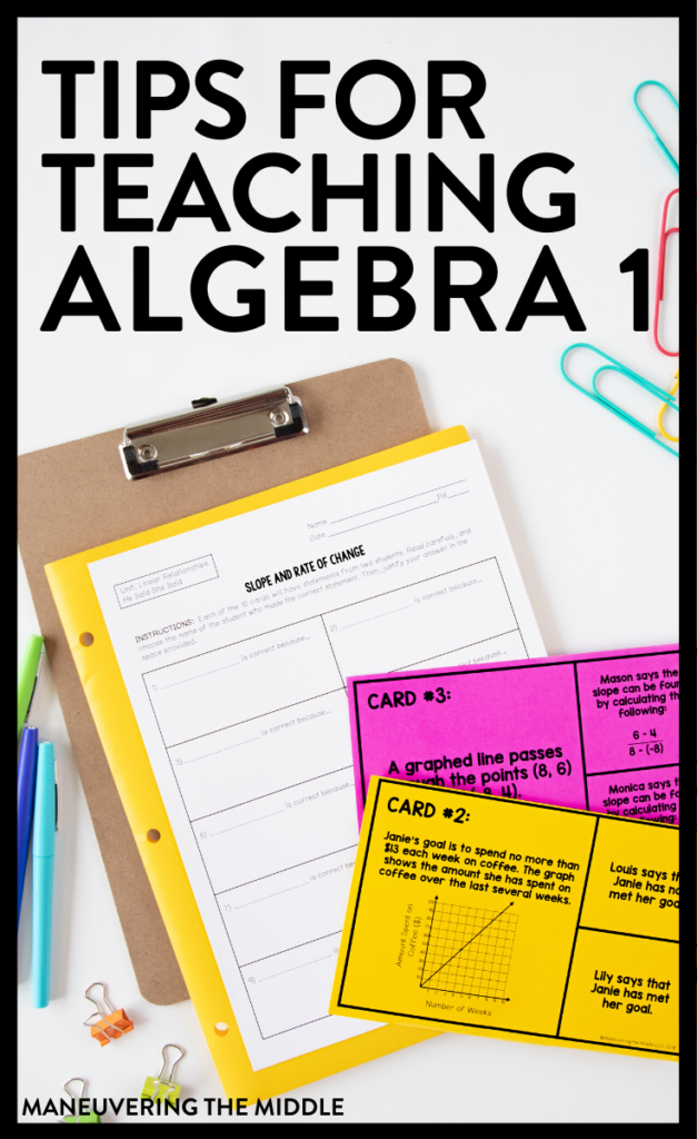 Algebra 1 is a foundational course and teaching Algebra 1 is full of unique challenges. Here are 3 tips to help you help your students succeed in Algebra 1.   maneuveringthemiddle.com