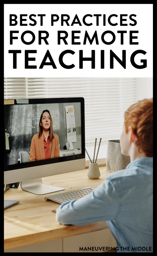 Learn from great teachers what is going right with remote teaching. Here are 5 remote teaching tips to help you and your students be successful! | maneuveringthemiddle.com