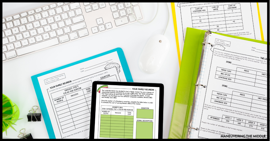 Start your year off right - download these free printable or digital math performance tasks for 6th, 7th, and 8th grade. | maneuveringthemiddle.com