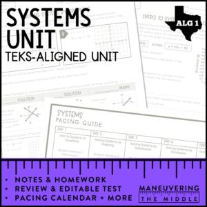 Algebra 1 Systems Cover