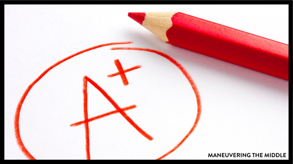 A common mistake teachers make is trying to grade everything their students touch. Grading student work can be strategic & less daunting. Check out our tips on what teachers should grade and how to give fast feedback. | maneuveringthemiddle.com