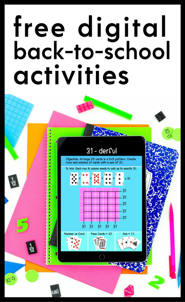 Not sure how to start your school year? Check out these free back-to-school math digital activities for back to school. | maneuveringthemiddle.com