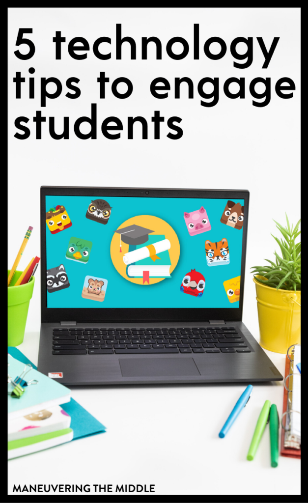 Get your students excited about math using these 5 classroom technology ideas. From games to extensions, students will be engaged! | maneuveringthemiddle.com