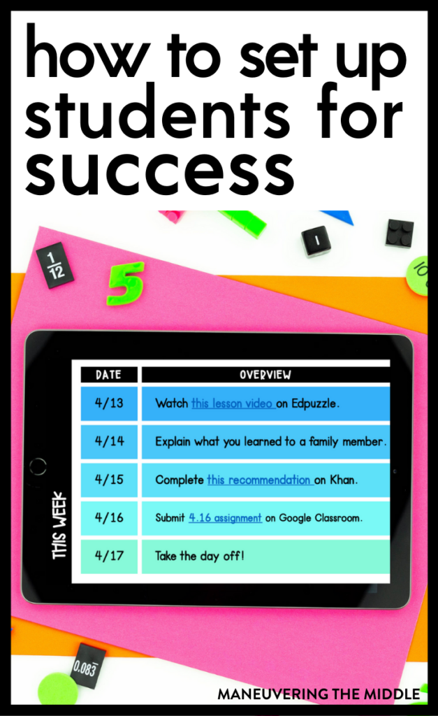Student success in a digital classroom can be hard to accomplish. Here are a few tips to help you set your students up for success. | maneuveringthemiddle.com