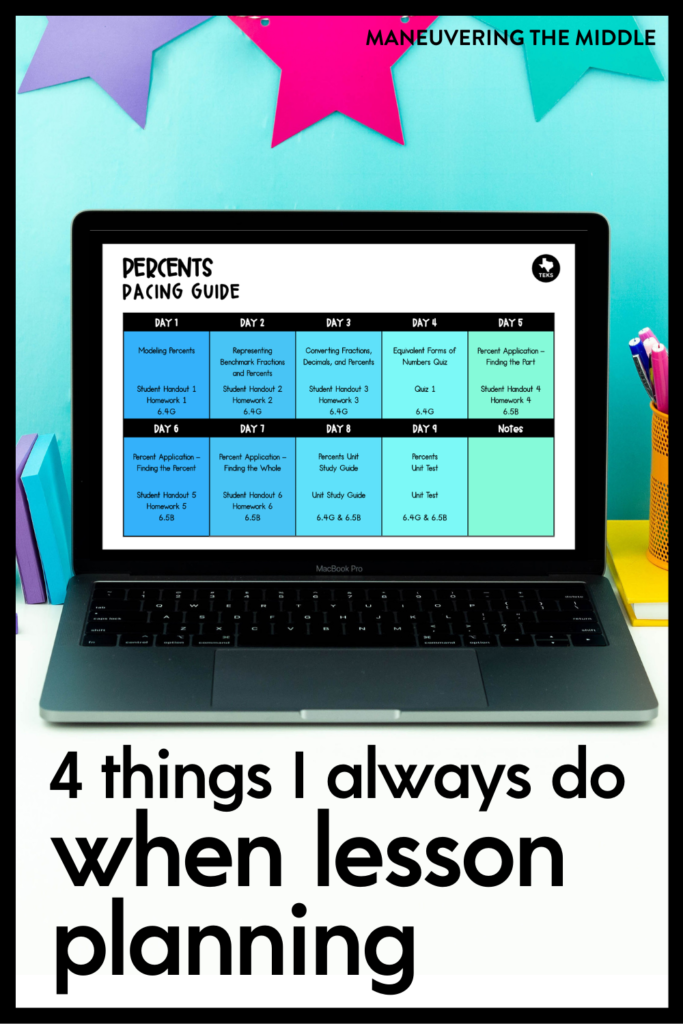Does lesson planning take up too much of your valuable time? The 4 things I always do when lesson planning helps me stay streamlined, organized, and ready for anything to be thrown at me. Get more lessons planned in less time by looking at the big picture and finalizing the small details. Plus, grab some free digital performance tasks designed for middle school and Algebra students.  | maneuveringthemiddle.com